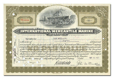 International Mercantile Marine Company Stock Certificate (Titanic)