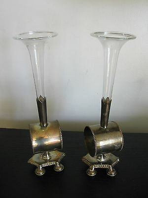 TALL BUD VASE silver/silverplate figural napkin ring/holder x 2
