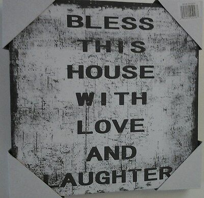 Bless This House With Love Canvas Art Print Wall Hanging~Nwt~Inspirational