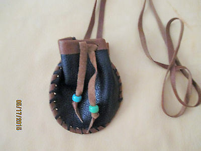 Black Leather Neck Bag Pouch Laced with Brown Leather Glass Beads