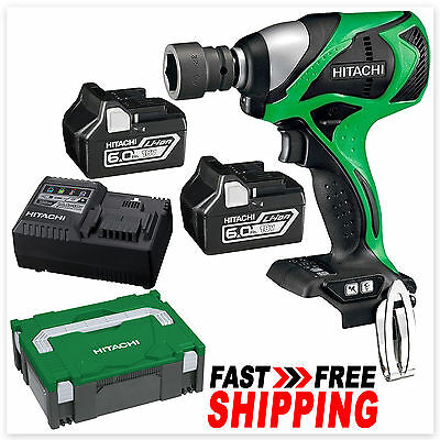 "Hitachi 18V Li-Ion Cordless Brushless 1/2"" Impact Wrench 6.0Ah Battery Kit"