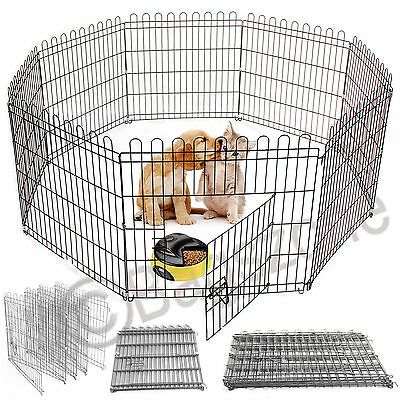 Large 8 Panel Pet Play Pen Dog Puppy Animal Rabbit Cage Run Folding Garden Fence
