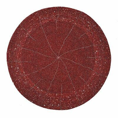 Red Beaded Placemat Party Table Ware Xmas Wedding Decor Dinner Round Mat Plate