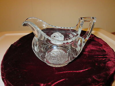 Early Signed Heisey Deep Rose Etched Creamer Patented 8/30/21