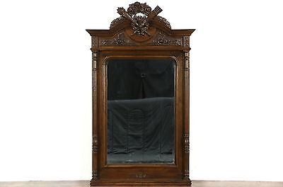 French Louis XVI Antique 1890 Carved Oak Beveled Wall or Mantel Mirror
