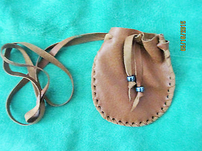 Brown Leather Medicine Neck Bag Neck Pouch Glass Beads