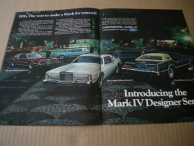 1976 Continental Mark IV Designer Series Ad Bill Blass-Cartier-Pucci-Givenchy