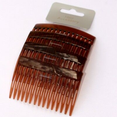 Lot de 4 peignes à cheveux marrons 7 x 4,5cm courbé - 4 brown hair combs