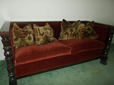 Carved Poster Front Legs with Claw Feet Burgandy Velvet Pew Style Sofa