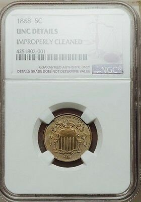 1868 SHIELD NICKEL (DATE DOUBLING) - NO RAYS - UNC. Details (NGC)