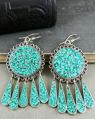 Taxco Mexico Sterling Silver and Crushed Turquoise Fringed Dangle Earrings