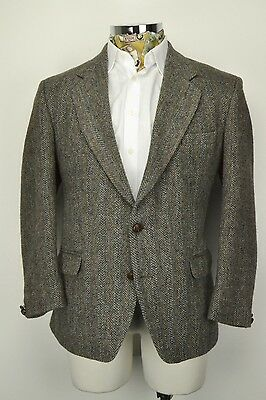 "Centaur Harris Tweed Jacket size 44"" Short Herringbone Blue Grey"