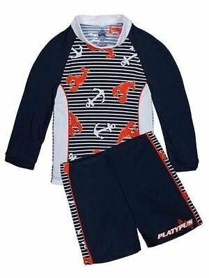 Platypus Australia Boys UPF50+ Lobster Catch LS Baby Sunset size 6-9 months NEW