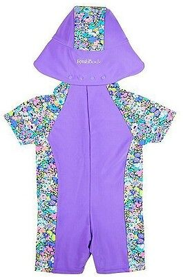 RASHOODZ Girl's Sunsuit With Floral Panelling Purple size 6-9 months - Brand New
