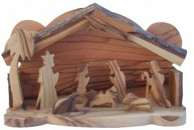 Holy Land Olive Wood Nativity Set / Scene With Bark Roof - Small