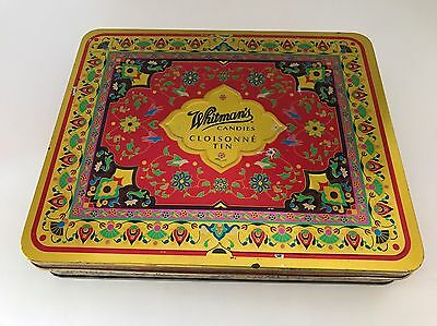 Vintage COOL Whitmans candies - CLOISONNE hinged tin Valentine's Day