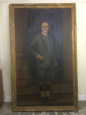 Large Antique Oil on Canvas of a gentleman signed CB Prescott dated 1928