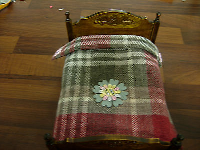 1/12Th Scale Dolls House Double Bed  Blanket Handmade Red Grey