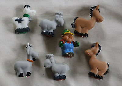 Mixed Lot Farm Animals and Farmer Figures, Sheep, Cow Horse