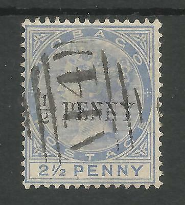 TOBAGO SG26 THE 1886 QV HALFPENNY ON 2.5d DULL BLUE FINE USED CAT £26