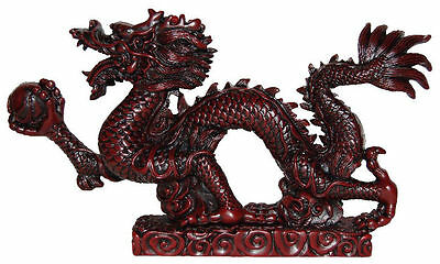 Feng Shui Rosewood Large Snake Dragon With Pearl