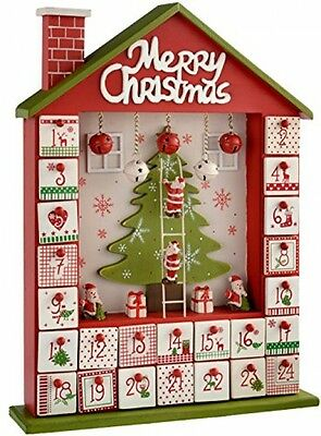WeRChristmas Wooden House Advent Calendar Christmas Decoration, 37 Cm - Red