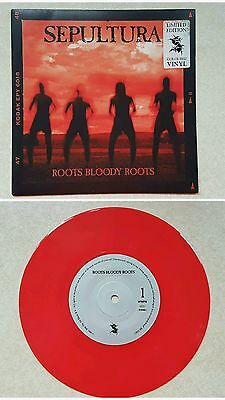 """Sepultura - Roots Bloody Roots Single.1996 Limited Edition 7"""" Red Vinyl."""