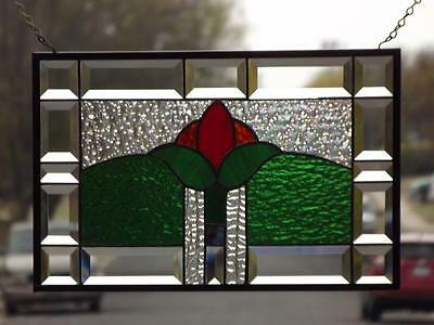 "• Floral • Beveled Stained Glass Window Panel • 17 ½""-11 ½"""