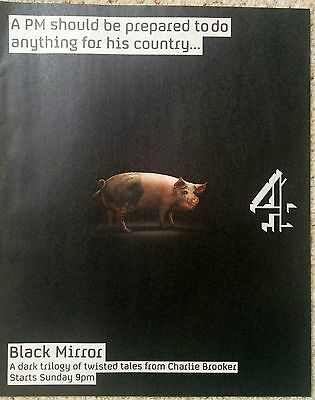 BLACK MIRROR / Channel 4 - Magazine Advert Cutting 2011 - Charlie Brooker - RARE