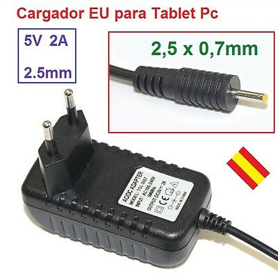 Cargador Tablet Android PC 2.5 0,7mm Alimentacion 5V 2A 2000mA Enchufe EU Pared