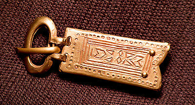 Mongol belt buckle with incised design - W83A