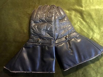 Vintage Motorcycle Leather Gloves Gauntlets , Jacket Boots Antique Scooter