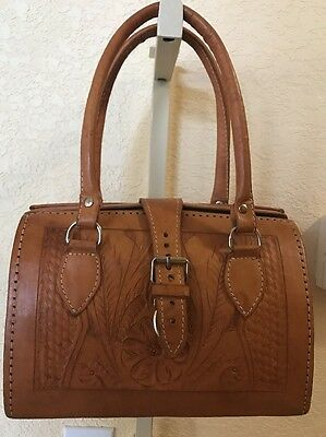 """Vintage Hand Tooled All Leather Purse """"Beautiful"""""""