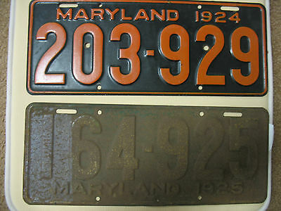 1924 & 1925 MARYLAND License Plates Tags