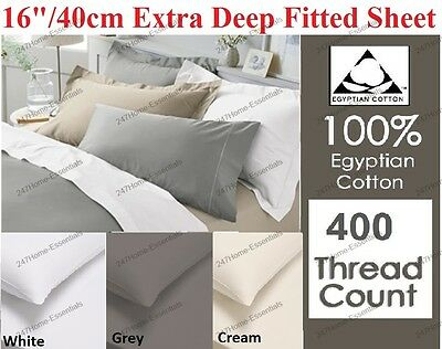 400 Thread Count 100% Egyption Cotton Extra Deep Fitted,Flat Sheets, Pillow Case