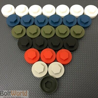 "16mm HEXAGONAL HEX TEK SCREW COVER CAPS TO FIT 8mm (5/16"") TEK SCREWS UV STABLE"