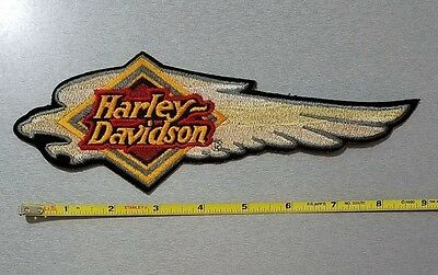 Patch embroidered sew on, Iron on; Harley-Davidson, Screaming Eagle Head, 9""