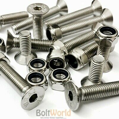 M8, A4 Stainless Steel Countersunk Csk Socket Allen Bolts Nyloc Nuts Screws Hex