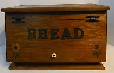 Vintage Stained And Painted Wood Bread Box With Hinged Lid