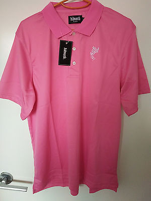 TOUR STYLE GOLF SHIRT BRIGHT PINK PREMIUM COTTON with Logo - SIZE(USA) MEDIUM