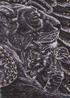 Lion ACEO Scratchboard Art Silver and Gold original print giclee Guardian Angel