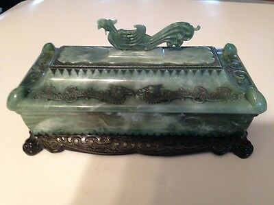UNIQUE CHINESE SPINACH GREEN plastic JADE color JEWELRY BOX