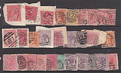 Postmarks: Small Group Of Barred Numerals On And Off Paper