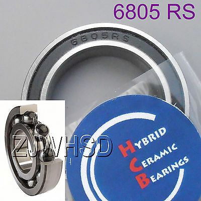 6805 2RS Si3N4 Hybrid Ceramic Ball Bearing Rubber Sealed 61805 25 x 37 x 7 mm