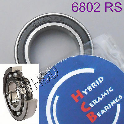 6802 2RS Si3N4 Hybrid Ceramic Ball Bearing Rubber Sealed 61802 15 x 24 x 5mm