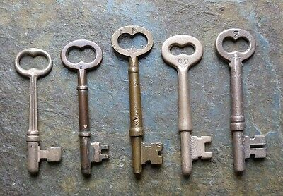 Five Antique  Bronze /Brass  Mortise Lock Skeleton Keys  Antique Door Keys
