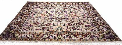 "Antique vintage floral handmade hand-knotted soft rug 99"" x 105"" 100%wool  # 73A"