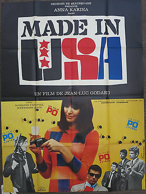 MADE IN USA (1967) Original French Movie Poster JEAN-LUC GODARD Anna Karina