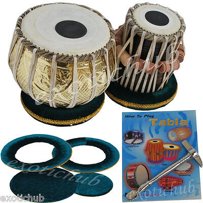 Tabla Drums Set~Designer 2.5 Kg Brass Bayan~Sheesham Wood Dayan~Great Sound