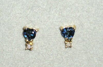 SOLID    14K Gold     Sapphire   Diamond    Earrings